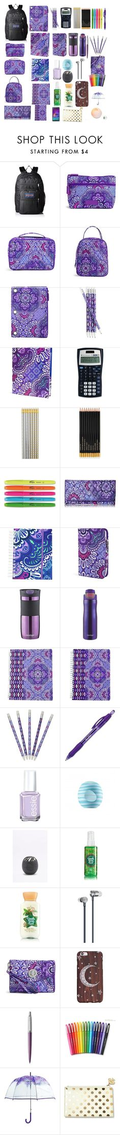 """beauty"" by slytherinbeauty ❤ liked on Polyvore featuring JanSport, Vera Bradley, The Pink Orange, Sloane Stationery, Contigo, Paper Mate, Essie, Eos, Master & Dynamic and Samsung"