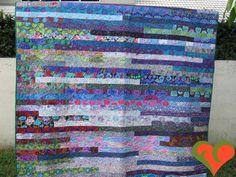 Kaffe Fassett Quilt. 'Kaffe Blue Sunshine' Queen Sized made by FayCarrie.