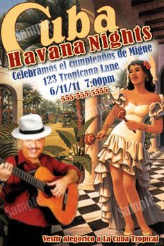 Havana Nights Vintage Poster Invitation DIY by modpoddesigns, $12.00