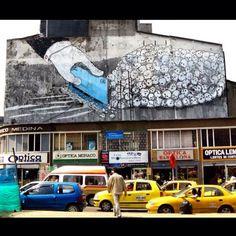 By BLU in Bogota, Colombia. #streetartofficial #streetartphotography #graffitiart #art #streetart #instagraffiti #painting #illustration #streetartist #instaart #arte #artist #graffiti #stencil #urbanart #instagood #cocaine #colombia