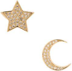 Lisa Freede Micro Pave Moon & Star Stud Earrings