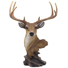 95517de616 Decorative Buck Bust Statue or Deer Head Sculpture with 8-point Antlers for  (eBay