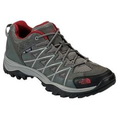 The North Face Storm III WP Waterproof Hiking Shoes for Men - Graphite Grey/Biking Red - 10.5M