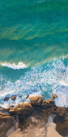 Coast, rocks, blue-green sea, sea waves, drone shot, nature, 1080x2160 wallpaper