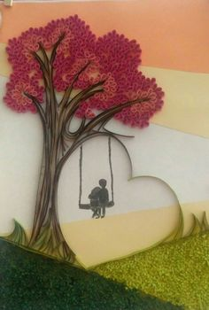 "Paper quilled ""lovers at sunset"" artwork"