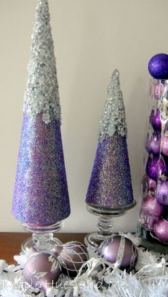 DIY Easy Iced Glittered Trees