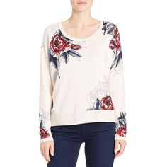 French Connection Rose-Print Sweater ($138) ❤ liked on Polyvore featuring tops, sweaters, cream, slouchy sweater, long sleeve scoop neck top, drop shoulder sweater, white slouchy sweater and white long sleeve top