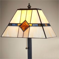 J Devlin Table Lamp 656, Mission Styled Stained Glass Table Lamps