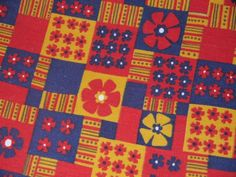 Vintage 60s 70s fabric / novelty patchwork floral / 1960s mod 1970s retro / groovy flower power / 5 yards yardage