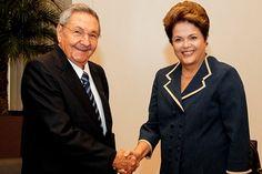 Dilma Rousseff e Raúl Castro - Cuba – Wikipédia, a enciclopédia livre > Raúl Castro em um encontro com Dilma Rousseff, a presidente do Brasil, em junho de 2012.