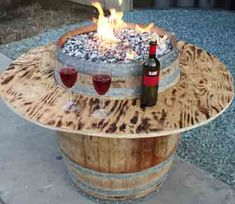 DIY Fire Pit Table from a wine barrel