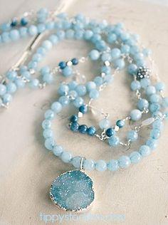 Apatite, Jade, and Chalcedony Druzy Triple Layer Necklace - The Leigh Necklace-necklace, triple layer, druzy, sterling silver, apatite, chalcedony, jade, springtime, tippy stockton