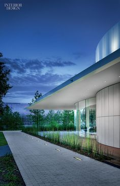 Gensler Washington DC and Austin Update Myriad Botanical Gardens | Curved glass and cement-composite panels enclose a restaurant pavilion Gensler designed for Oklahoma City's Myriad Botanical Gardens.  #design #interiordesignmagazine #interiordesign #projects #institutional #installations