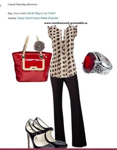 Sarah bag and Lou clutch with silver sheer rose flower clip on.   Jewelry: Red Celtic Ring