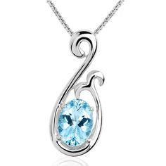 Designer Blue Zircon Sterling Silver Pendant Necklace Fine Jewelry SKU-10802295