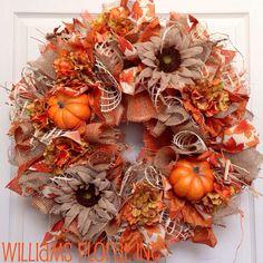Fall Wreath, Mesh Wreath, Autumn Wreath, Burlap on Etsy, $79.00