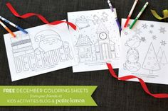 Today we are celebrating with Christmas coloring pages. These preciously cute Christmas coloring sheets can be used all through December with your kids. Printable Christmas Games, Christmas Games For Kids, Preschool Christmas, Noel Christmas, Christmas Activities, Christmas Colors, Christmas Projects, Winter Christmas, Christmas Ideas