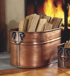 Plow & Hearth Galvanized Steel Firewood Bucket with Wrought Iron Handles L x W x H inches, Antique Copper Fireplace Logs, Fireplace Screens, Christmas Fireplace, Decorative Storage, Diy Storage, Loft Storage, Storage Design, Indoor Firewood Rack, Firewood Stand