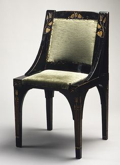 Side chair, ca. 1870  Christopher Dresser (British, 1834–1904)  Gilt, ebonized, and carved wood