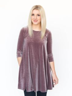 This Swing Tunic in Velvet, Deep Orchid, adds a little texture to your outfit while being super trendy. Velvet isn't just for the holidays anymore, this year it's all about texture. Pakistani Bridal Dresses Online, Asian Wedding Dress Pakistani, Pakistani Fashion Casual, Velvet Fashion, Suit Fashion, Women's Fashion Dresses, Casual Dresses, Simple Indian Suits, Velvet Skater Dress