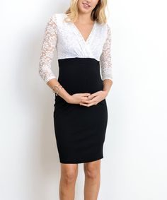 This Hello Miz White & Black Maternity/Nursing Surplice Dress by Hello Miz Maternity is perfect! #zulilyfinds