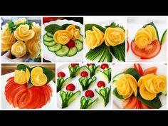 Tremendous Salad Ornament Concepts - Vegetable Flower Plate Ornament - Ideas of Decoration Salad Decoration Ideas, Vegetable Decoration, Flower Decorations, Deco Fruit, Grilled Vegetable Salads, Food Bouquet, Creative Food Art, Edible Arrangements, Flower Plates