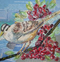 White Crowned Sparrow with Berries Torn Paper by ElysiumArtists