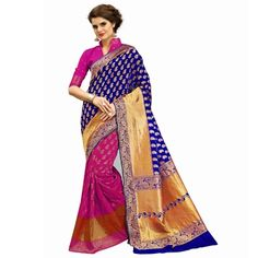 Multicolor woven banarasi silk saree with blouse - Shree Impex - 2361076 Bollywood Designer Sarees, Silk Sarees, Sari, Blouse, Fashion, Saree, Moda, La Mode, Blouses