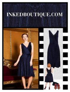 """""""Inked Boutique (11)"""" by irresistible-livingdeadgirl ❤ liked on Polyvore featuring Voodoo Vixen, Oris, Pinup Couture, vintage, Blue, bluedress, velvet and polyvoreeditorial"""