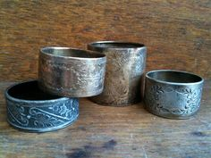 Vintage English Silver Napkin Rings Mismatched Set by EnglishShop, $52.00