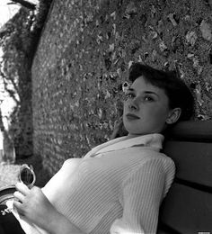 Audrey takes a day off from filming at the seaside village of Rottingdean. 1951 on the beach at Rottingdean, East Sussex, England. by Joseph McKeown