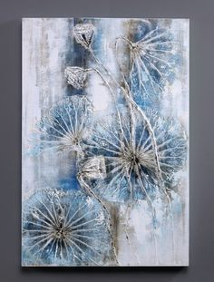Dreaming Blue - Individually hand painted acrylic oil painting on canvas for modern home decoration.