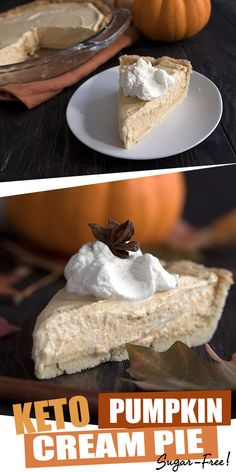 Better than you ever thought possible! Creamy keto pumpkin pie with a tender almond flour crust. Filled with a delicious keto pumpkin mousse. The perfect Fall and holiday dessert recipe. Diet and Nutrition Keto Pumpkin Cream Pie Pumpkin Cream Pie, Keto Pumpkin Pie, Pumpkin Mousse, Pumpkin Recipes, Pumpkin Cheesecake, Cheesecake Desserts, Pumpkin Bars, Healthy Pumpkin, Canned Pumpkin