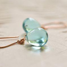 Items similar to Rose gold earrings glass, Sky blue glass earrings, blue drop earrings, aquamarine color earrings, blue stone earrings Paka Ua Plump Sky on Etsy Blue Drop Earrings, Rose Gold Earrings, Pearl Earrings, Artisan Jewelry, Handmade Jewelry, Unique Jewelry, Aquamarine Blue, Silver Roses, Jewelry Making