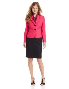 Le Suit Women's Petite 2 Button Piped Jacket with Skirt and Scarf Suit Set, Peony Pink/Black, 16 Le Suit http://www.amazon.com/dp/B00FFV4TZG/ref=cm_sw_r_pi_dp_2KG8vb0150N7K