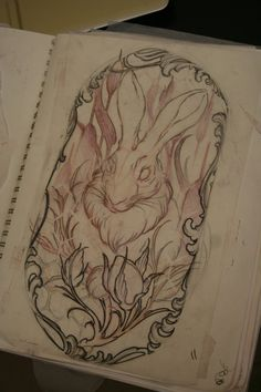 Displaying 19> Images For - Traditional Rabbit Tattoo Flash...