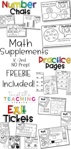 FREE printable math practice pages! This article includes Write & Wipe Centers, Math Supplements: Practice Pages, Exit Tickets, and Number Chats. These no prep math resources are perfect for workstation or math center use for independent practice and skills refinement. Topics: number sense, addition, subtraction, place value, geometry, money, telling time, graphs & data, measurement. Kindergarten, first grade, and second grade activities are available. www.tunstallsteachingtidbits.com