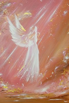 Angel art poster: met an angel    - 15.8 x 23.6 inches    - glossy  - limited poster of one of my paintings      Estimated shipping duration: