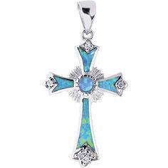 Sterling Silver Opal Cross Charm Religious Pendant #Pendant