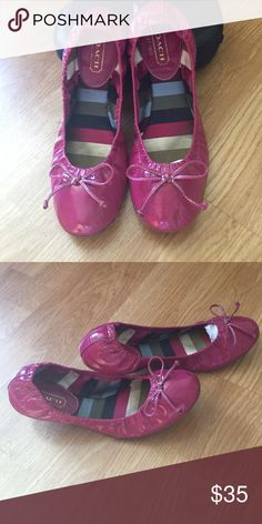 Adorable Coach Patent Leather Ballet Flats Adorable pretty in pink Coach ballet flats. Used about 5x over the summer. Coach Shoes Flats & Loafers