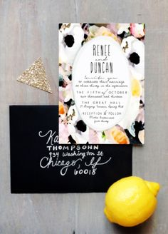 Watercolor Flower Stripes Wedding Invitations Hoopla Love6 300x418 Renee + Duncans Bold Floral Watercolor Wedding Invitations