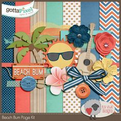 Beach Bum Page Kit :: Pixel Club Exclusives :: Pixel Club :: Gotta Pixel Digital Scrapbook Store