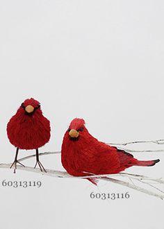 6in Red Straw Birds