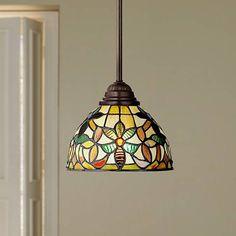 Quoizel Kami Tiffany-Style Mini Pendant Light - All For Decoration Farmhouse Kitchen Lighting, Kitchen Lighting Fixtures, Kitchen Pendant Lighting, Light Fixtures, Mini Pendant Lights, Pendant Chandelier, Lantern Pendant, Tiffany Pendant Light, Tiffany Lamps
