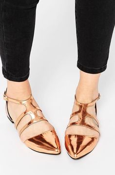 03b969f9c4b Ballet pumps by ASOS Collection Metallic upper Pin buckle ankle strap Cage  styling Pointed toe Wipe with a soft cloth Polyurethane Upper