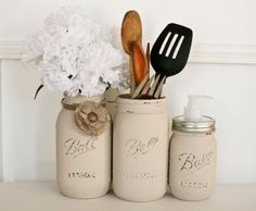 Hey, I found this really awesome Etsy listing at https://www.etsy.com/listing/223732286/painted-distressed-mason-jars-kitchen
