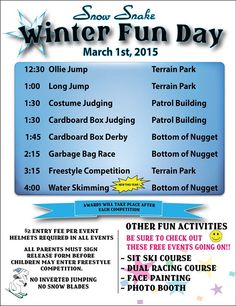 Our Winter Fun Day is right around the corner. Will you be here? #SnowSnake