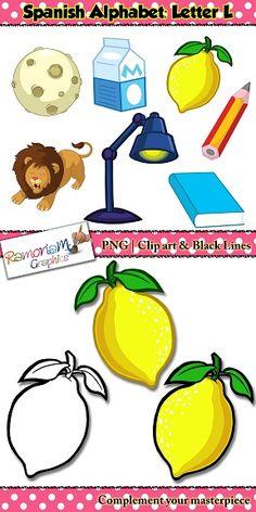Spanish Alphabet Letter L Clip art set containing the following words:  1. lámpara (lamp) 2. lápiz (pencil) 3. leche (milk) 4. león (lion) 5. libro (book) 6. limón (lemon) 7. luna (moon)