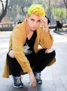 Dyed Yellow Hair And Dark Eyes: Character Inspiration Medium Long Hair, Medium Hair Styles, Short Hair Styles, Mens Hair Colour, Cool Hair Color, Easy Everyday Hairstyles, Trendy Hairstyles, Dyed Hair Men, Yellow Hair