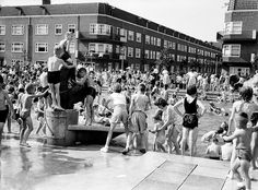"1953 Zwembad for kids at Solebaystraat (my street!). We called it ""Het Pierebadje"". In the summer it was crazy busy and crazy loud..."